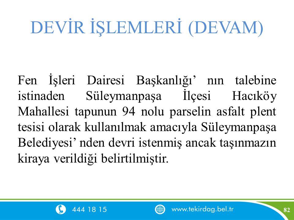 DEVİR İŞLEMLERİ (DEVAM) Fen İşleri Dairesi Başkanlığı' nın talebine istinaden Süleymanpaşa İlçesi Hacıköy Mahallesi tapunun 94 nolu parselin asfalt pl