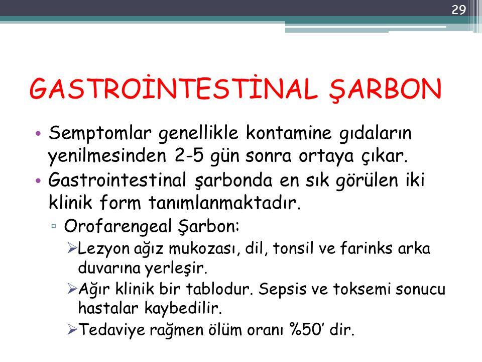 GASTROİNTESTİNAL ŞARBON Semptomlar genellikle kontamine gıdaların yenilmesinden 2-5 gün sonra ortaya çıkar. Gastrointestinal şarbonda en sık görülen i