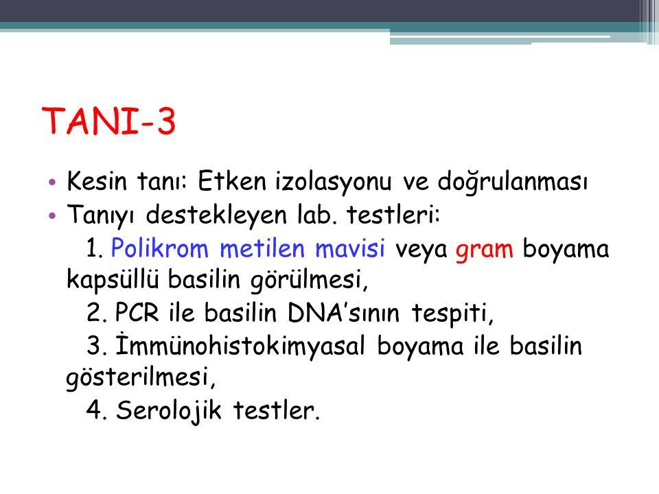 TANI-3 Kesin tanı: Etken izolasyonu ve doğrulanması Tanıyı destekleyen lab. testleri: 1. Polikrom metilen mavisi veya gram boyama kapsüllü basilin gör
