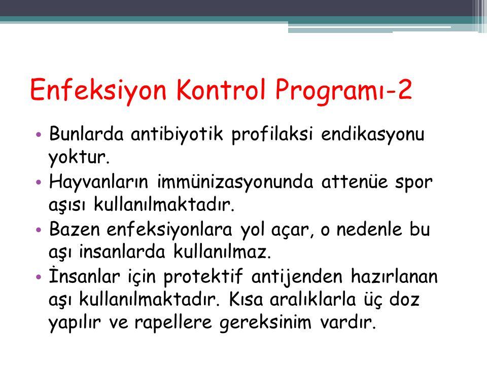 Enfeksiyon Kontrol Programı-2 Bunlarda antibiyotik profilaksi endikasyonu yoktur. Hayvanların immünizasyonunda attenüe spor aşısı kullanılmaktadır. Ba
