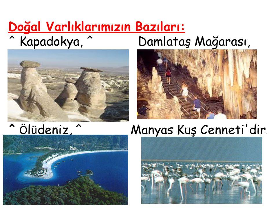 Doğal Varlıklarımızın Bazıları: ^ Kapadokya, ^ Damlataş Mağarası, ^ Ö l ü deniz, ^ Manyas Kuş Cenneti'dir.