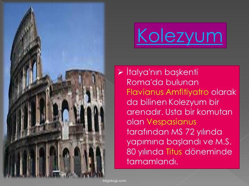  İtalya'nın başkenti Roma'da bulunan Flavianus Amfitiyatro olarak da bilinen Kolezyum bir arenadır. Usta bir komutan olan Vespasianus tarafından MS 7