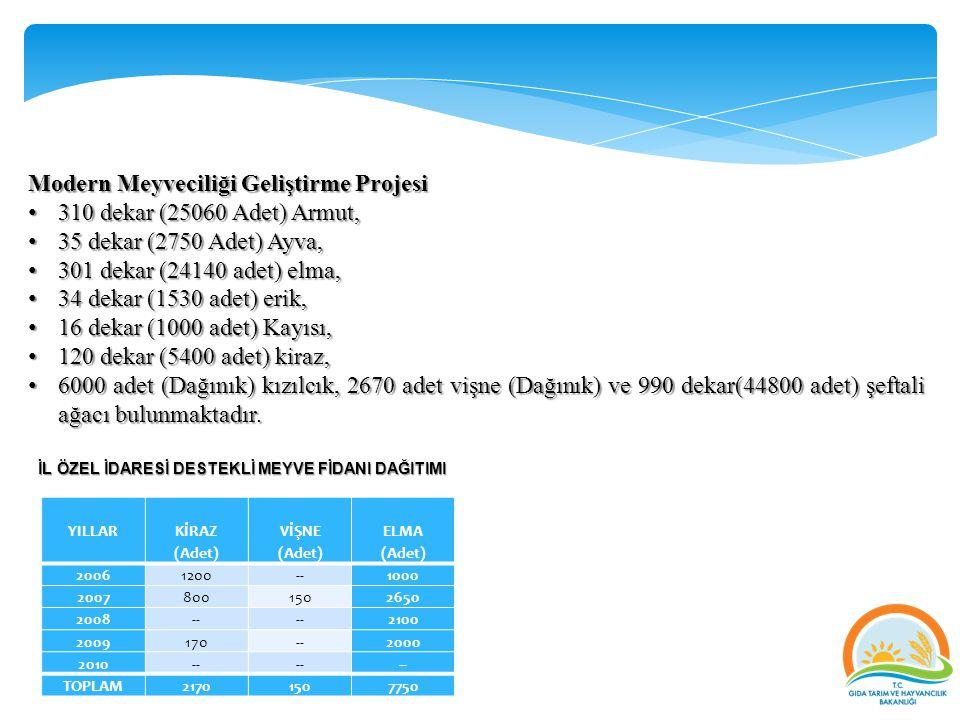 Modern Meyveciliği Geliştirme Projesi 310 dekar (25060 Adet) Armut, 310 dekar (25060 Adet) Armut, 35 dekar (2750 Adet) Ayva, 35 dekar (2750 Adet) Ayva