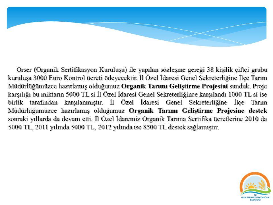 Orser (Organik Sertifikasyon Kuruluşu) ile yapılan sözleşme gereği 38 kişilik çiftçi grubu kuruluşa 3000 Euro Kontrol ücreti ödeyecektir. İl Özel İdar