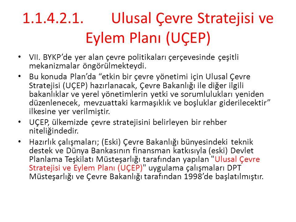1.1.4.2.1.Ulusal Çevre Stratejisi ve Eylem Planı (UÇEP) VII. BYKP'de yer alan çevre politikaları çerçevesinde çeşitli mekanizmalar öngörülmekteydi. Bu