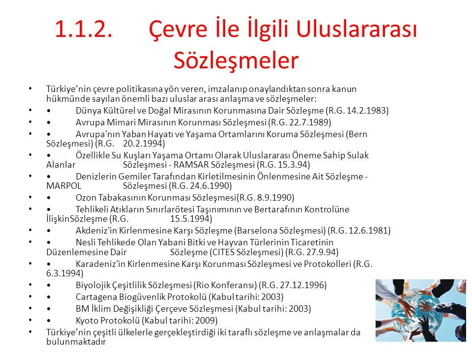 1.1.2.Çevre İle İlgili Uluslararası Sözleşmeler Türkiye'nin çevre politikasına yön veren, imzalanıp onaylandıktan sonra kanun hükmünde sayılan önemli