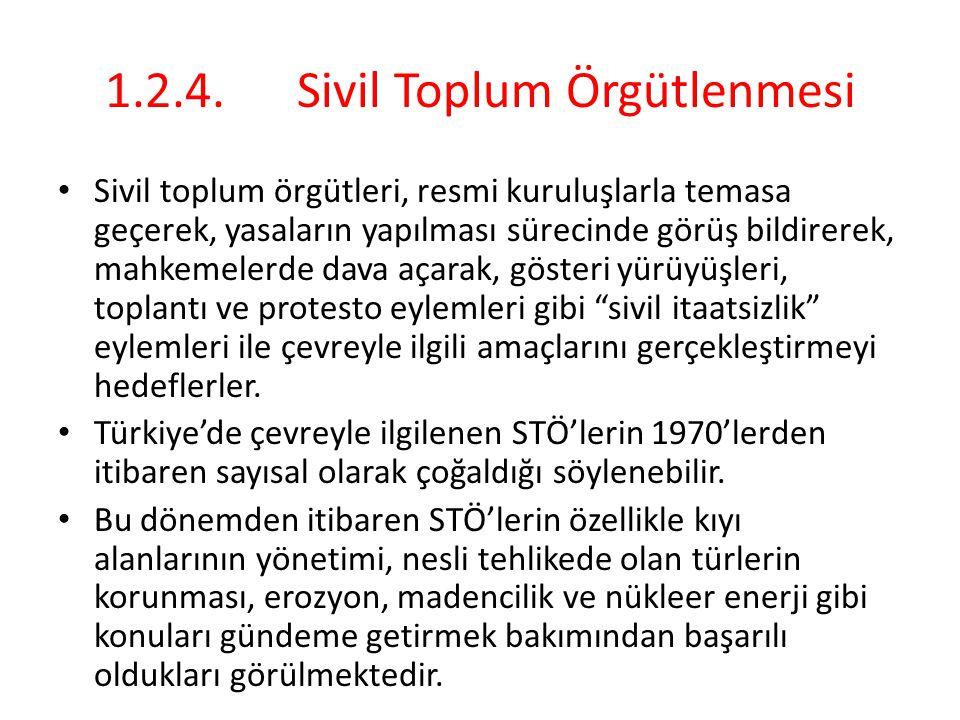 1.2.4.Sivil Toplum Örgütlenmesi Sivil toplum örgütleri, resmi kuruluşlarla temasa geçerek, yasaların yapılması sürecinde görüş bildirerek, mahkemelerd