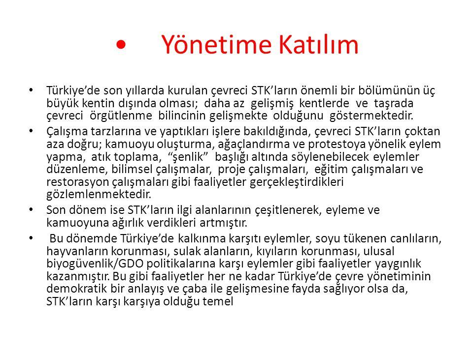 Yönetime Katılım Türkiye'de son yıllarda kurulan çevreci STK'ların önemli bir bölümünün üç büyük kentin dışında olması; daha az gelişmiş kentlerde ve