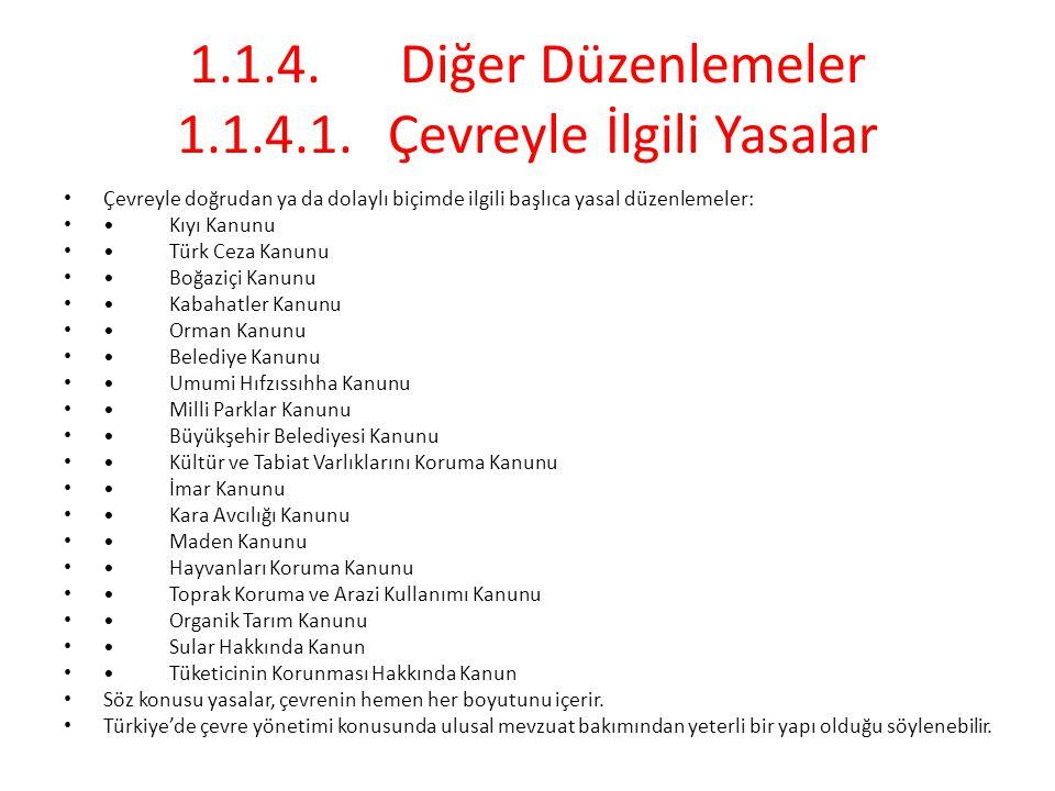 1.1.4.Diğer Düzenlemeler 1.1.4.1.Çevreyle İlgili Yasalar Çevreyle doğrudan ya da dolaylı biçimde ilgili başlıca yasal düzenlemeler: Kıyı Kanunu Türk C