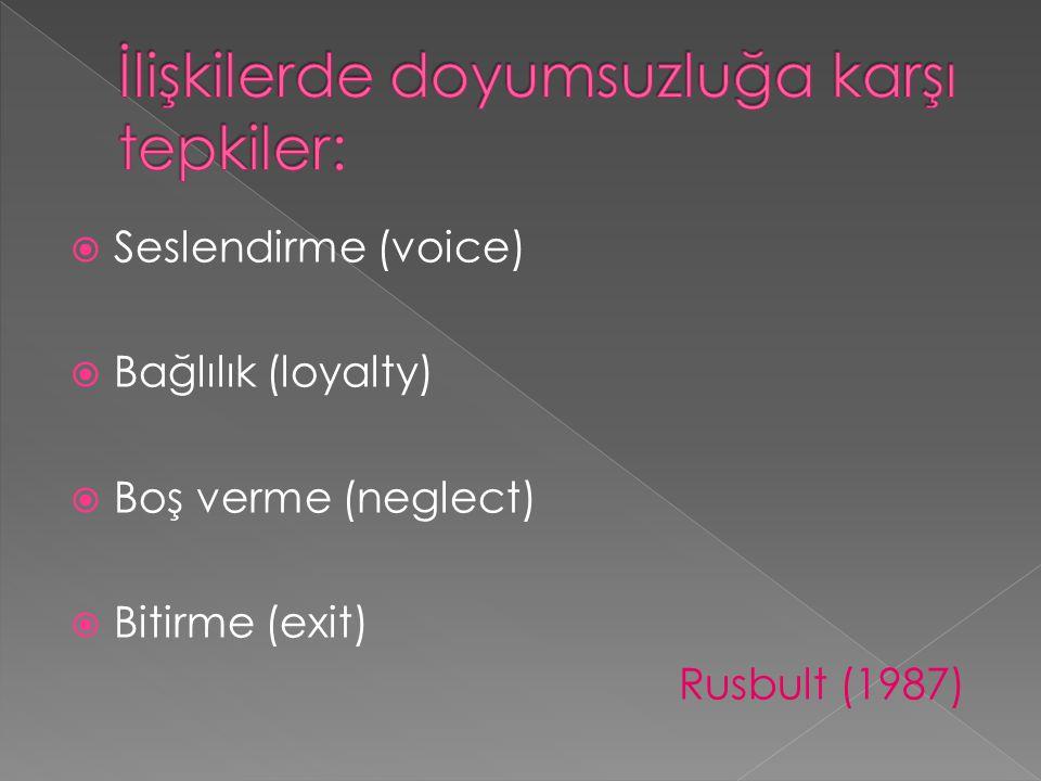  Seslendirme (voice)  Bağlılık (loyalty)  Boş verme (neglect)  Bitirme (exit) Rusbult (1987)
