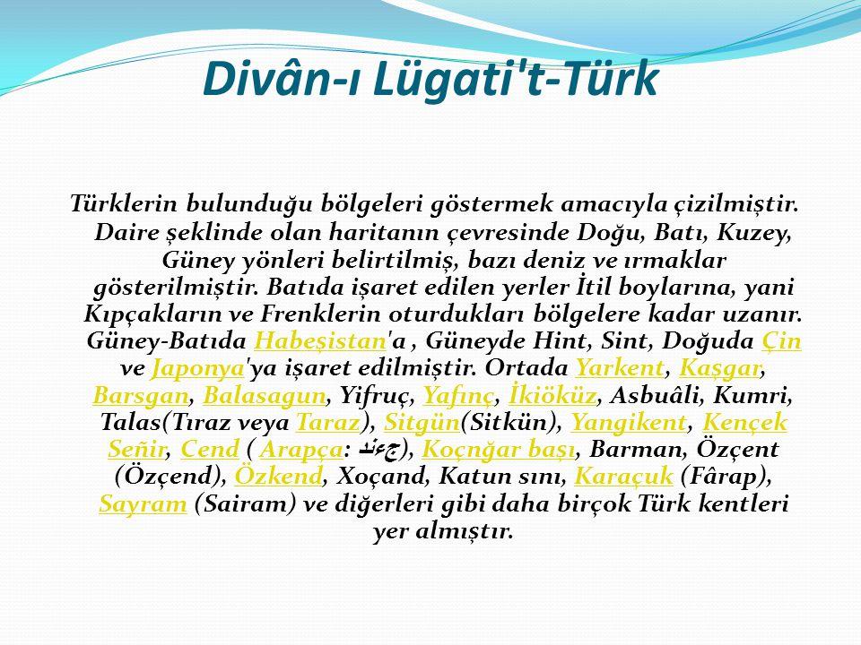 Divân-ı Lügati t-Türk Türklerin bulunduğu bölgeleri göstermek amacıyla çizilmiştir.
