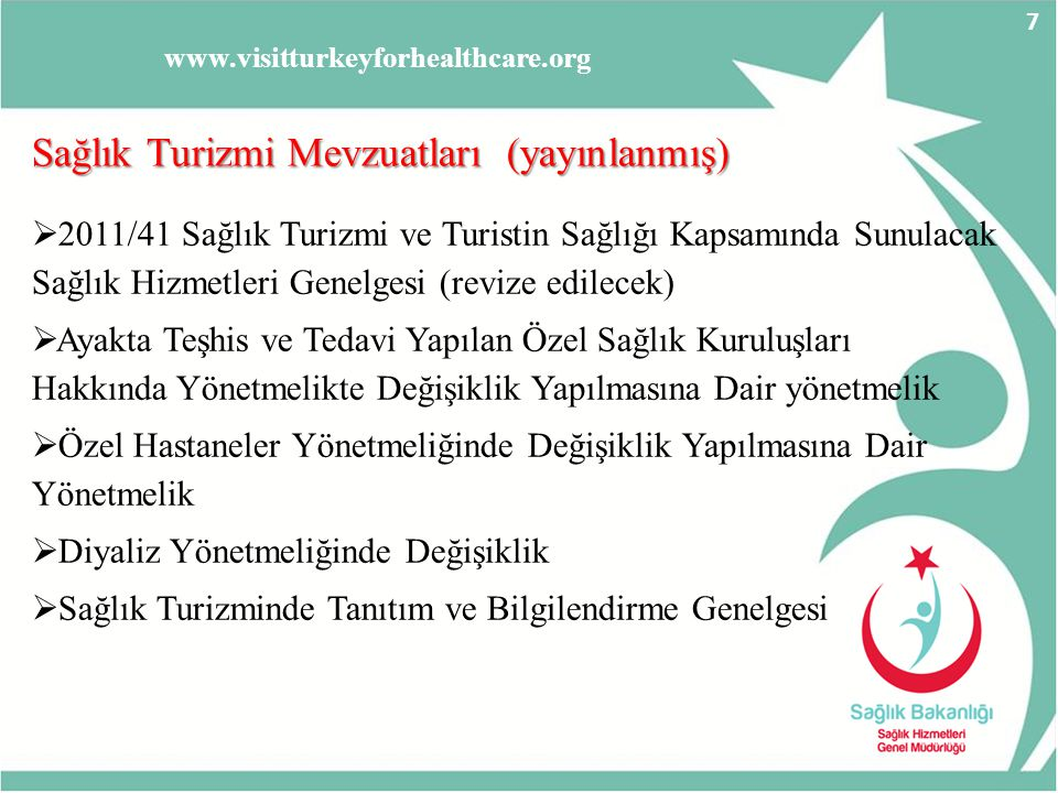 www.visitturkeyforhealthcare.org Devam Eden Mevzuat Çalışmaları Devam Eden Mevzuat Çalışmaları  Konaklama Tesislerinde açılacak sağlık kuruluşları genelgesi  Aracı kurumlar ve sağlık turizmi süreçleri yönetmeliği  Kür - Rehabilitasyon ve medikal SPA merkezleri yönetmeliği  Sağlık Serbest Bölge yönetmeliği  Hastaların Avrupa Birliği'nde serbest dolaşımı ilgili mevzuat  Sağlık turizmi hizmeti sunacak sağlık kuruluşlarında uluslar arası kriterleri taşıması ile ilgili mevzuat çalışması 8