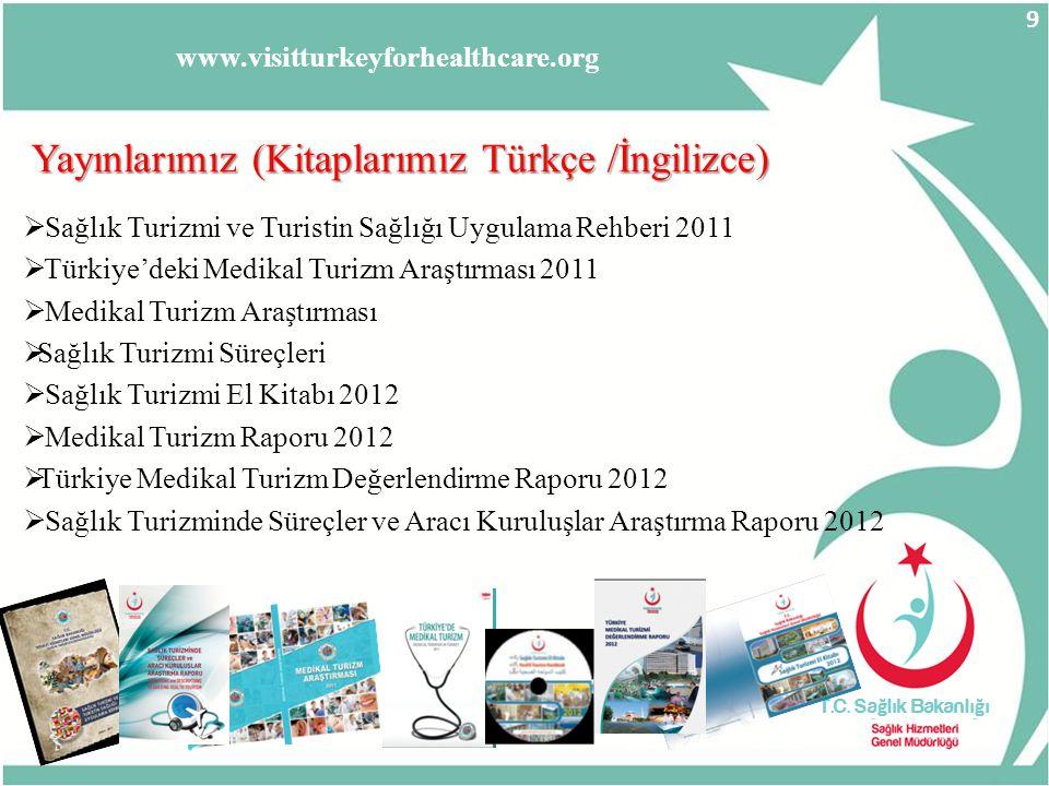 www.visitturkeyforhealthcare.org Yayınlarımız (Kitaplarımız Türkçe /İngilizce)  Sağlık Turizmi ve Turistin Sağlığı Uygulama Rehberi 2011  Türkiye'de