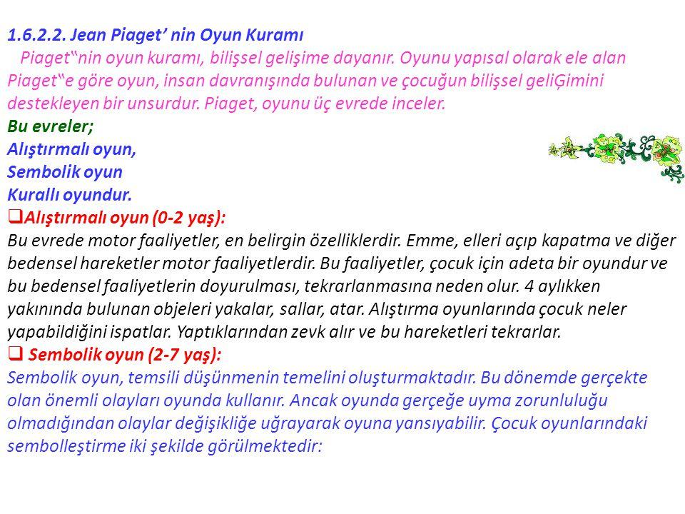 """1.6.2.2. Jean Piaget' nin Oyun Kuramı Piaget""""nin oyun kuramı, bilişsel gelişime dayanır. Oyunu yapısal olarak ele alan Piaget""""e göre oyun, insan davra"""