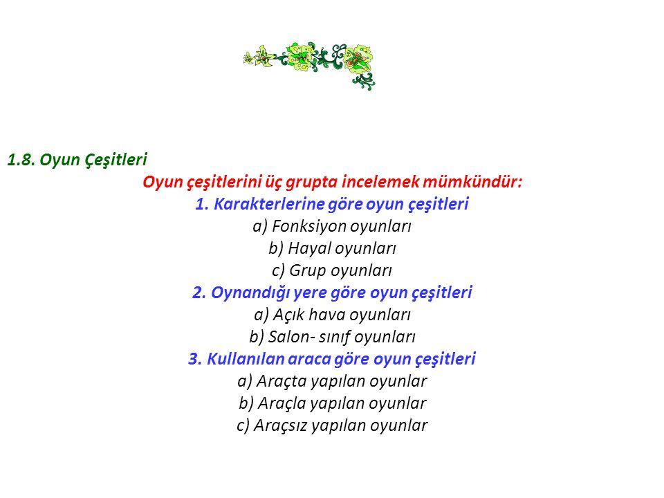 1.8. Oyun Çeşitleri Oyun çeşitlerini üç grupta incelemek mümkündür: 1. Karakterlerine göre oyun çeşitleri a) Fonksiyon oyunları b) Hayal oyunları c) G