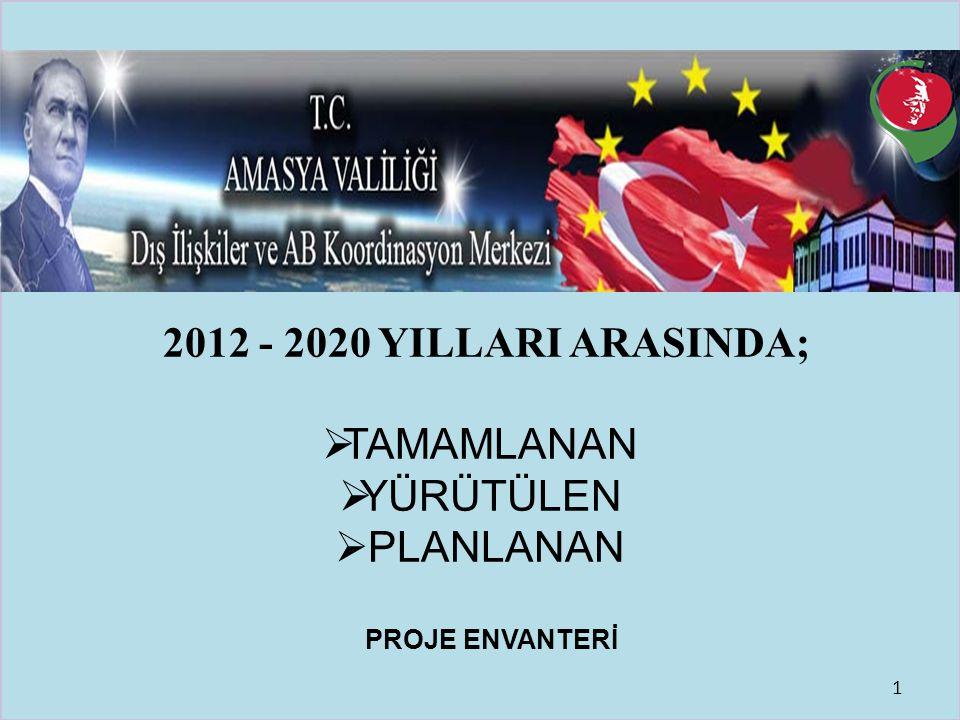 T.C. AMASYA VALİLİĞİ DIŞ İLİŞKİLER VE AVRUPA BİRLİĞİ KOORDİNASYON MERKEZİ 2012 - 2020 YILLARI ARASINDA;  TAMAMLANAN  YÜRÜTÜLEN  PLANLANAN PROJE ENV