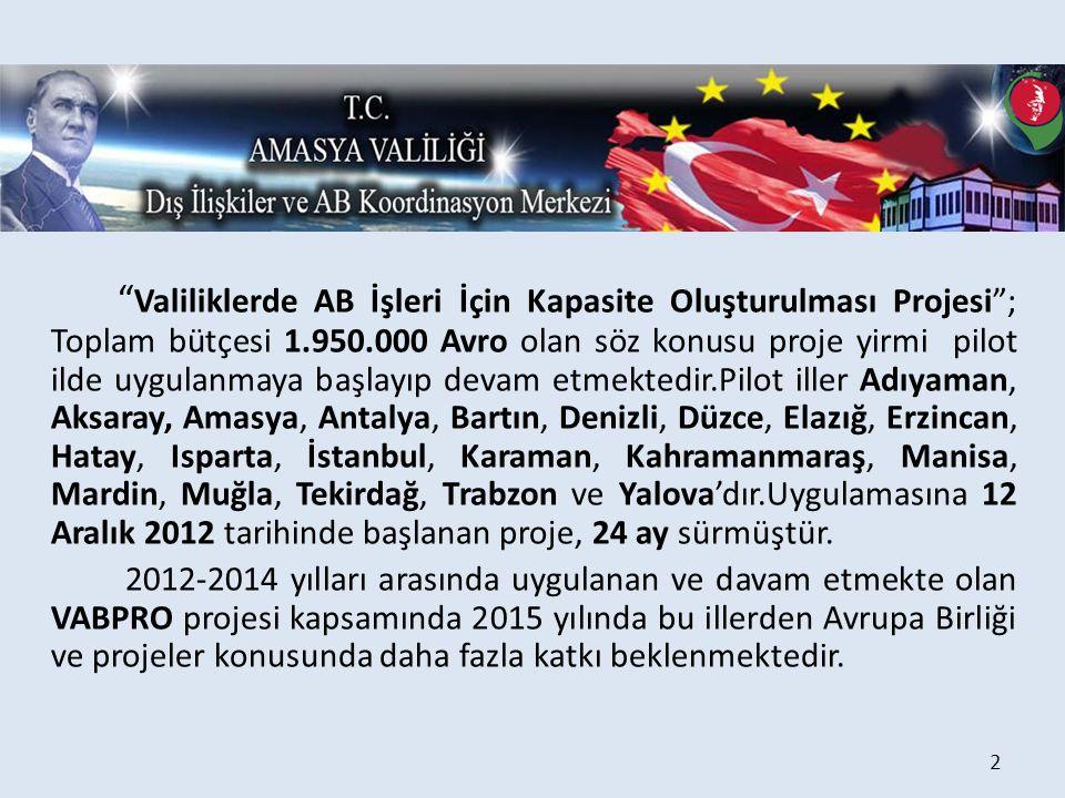 """"""" Valiliklerde AB İşleri İçin Kapasite Oluşturulması Projesi""""; Toplam bütçesi 1.950.000 Avro olan söz konusu proje yirmi pilot ilde uygulanmaya başlay"""
