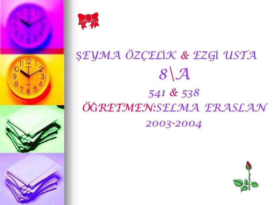 Ş EYMA ÖZÇEL İ K & EZG İ USTA 8\A 541 & 538 Ö Ğ RETMEN:SELMA ERASLAN 2003-2004