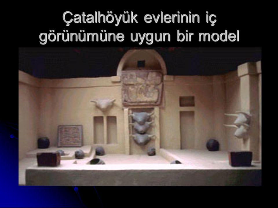 Çatalhöyük evlerinin iç görünümüne uygun bir model