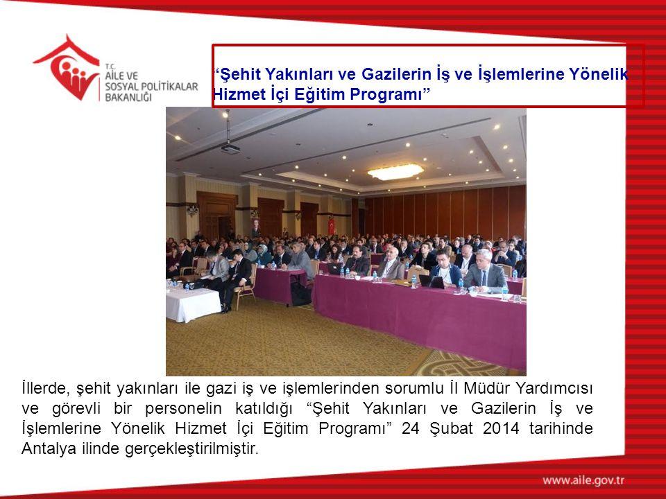 İllerde, şehit yakınları ile gazi iş ve işlemlerinden sorumlu İl Müdür Yardımcısı ve görevli bir personelin katıldığı Şehit Yakınları ve Gazilerin İş ve İşlemlerine Yönelik Hizmet İçi Eğitim Programı 24 Şubat 2014 tarihinde Antalya ilinde gerçekleştirilmiştir.