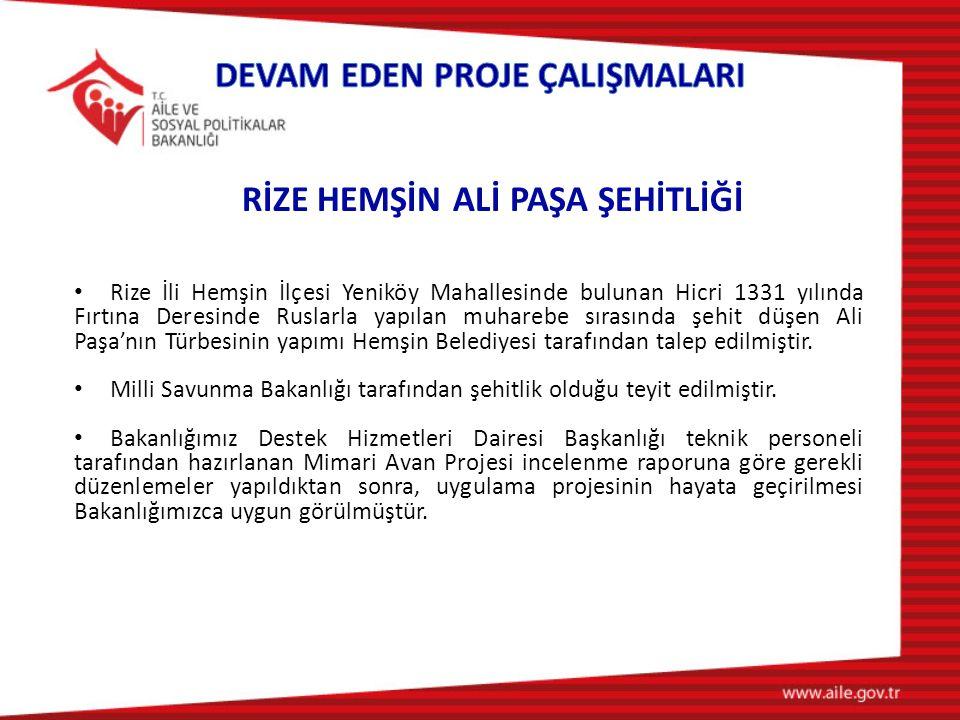 Rize İli Hemşin İlçesi Yeniköy Mahallesinde bulunan Hicri 1331 yılında Fırtına Deresinde Ruslarla yapılan muharebe sırasında şehit düşen Ali Paşa'nın Türbesinin yapımı Hemşin Belediyesi tarafından talep edilmiştir.