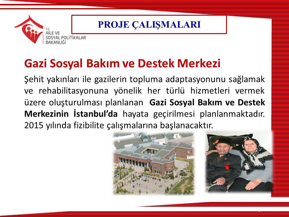 PROJE ÇALIŞMALARI Gazi Sosyal Bakım ve Destek Merkezi Şehit yakınları ile gazilerin topluma adaptasyonunu sağlamak ve rehabilitasyonuna yönelik her türlü hizmetleri vermek üzere oluşturulması planlanan Gazi Sosyal Bakım ve Destek Merkezinin İstanbul'da hayata geçirilmesi planlanmaktadır.