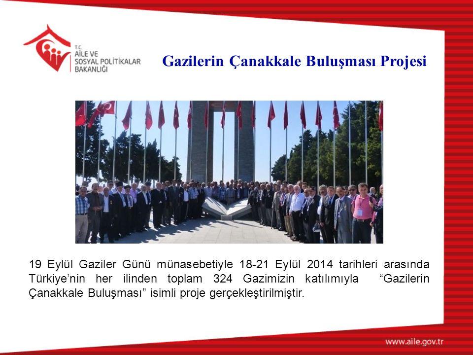 19 Eylül Gaziler Günü münasebetiyle 18-21 Eylül 2014 tarihleri arasında Türkiye'nin her ilinden toplam 324 Gazimizin katılımıyla Gazilerin Çanakkale Buluşması isimli proje gerçekleştirilmiştir.