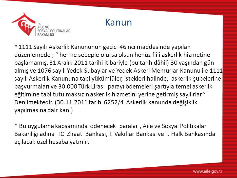 Kanun * 1111 Sayılı Askerlik Kanununun geçici 46 ncı maddesinde yapılan düzenlemede ; her ne sebeple olursa olsun henüz fiili askerlik hizmetine başlamamış, 31 Aralık 2011 tarihi itibariyle (bu tarih dâhil) 30 yaşından gün almış ve 1076 sayılı Yedek Subaylar ve Yedek Askeri Memurlar Kanunu ile 1111 sayılı Askerlik Kanununa tabi yükümlüler, istekleri halinde, askerlik şubelerine başvurmaları ve 30.000 Türk Lirası parayı ödemeleri şartıyla temel askerlik eğitimine tabi tutulmaksızın askerlik hizmetini yerine getirmiş sayılırlar.'' Denilmektedir.