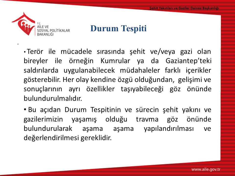 Şehit Yakınları ve Gaziler Dairesi Başkanlığı Durum Tespiti.