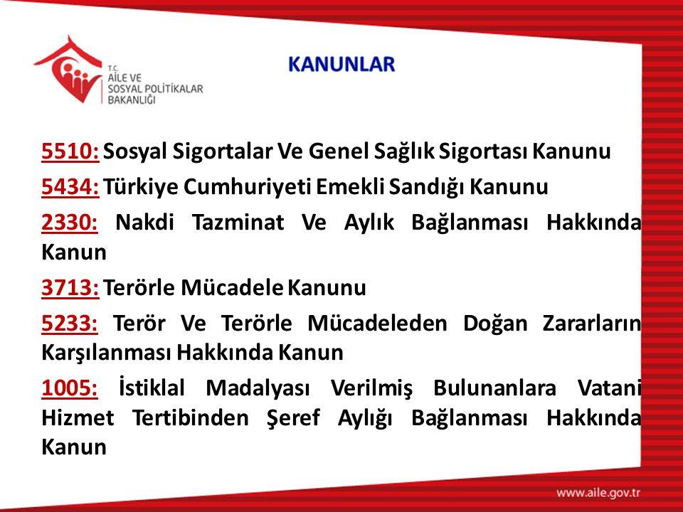 5510: Sosyal Sigortalar Ve Genel Sağlık Sigortası Kanunu 5434: Türkiye Cumhuriyeti Emekli Sandığı Kanunu 2330: Nakdi Tazminat Ve Aylık Bağlanması Hakkında Kanun 3713: Terörle Mücadele Kanunu 5233: Terör Ve Terörle Mücadeleden Doğan Zararların Karşılanması Hakkında Kanun 1005: İstiklal Madalyası Verilmiş Bulunanlara Vatani Hizmet Tertibinden Şeref Aylığı Bağlanması Hakkında Kanun