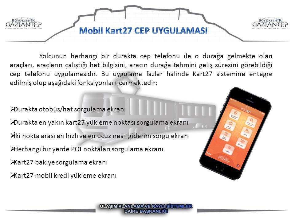 Yolcunun herhangi bir durakta cep telefonu ile o durağa gelmekte olan araçları, araçların çalıştığı hat bilgisini, aracın durağa tahmini geliş süresini görebildiği cep telefonu uygulamasıdır.