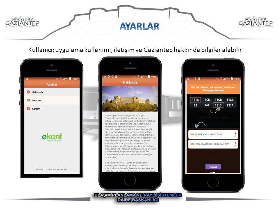 Kullanıcı; uygulama kullanımı, iletişim ve Gaziantep hakkında bilgiler alabilir