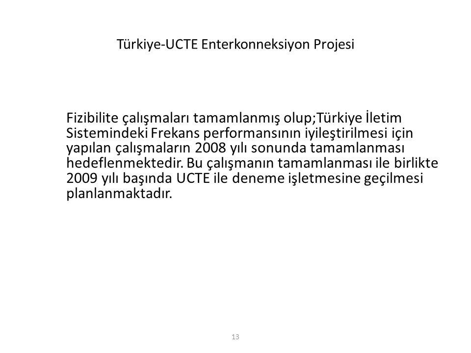 13 Türkiye-UCTE Enterkonneksiyon Projesi Fizibilite çalışmaları tamamlanmış olup;Türkiye İletim Sistemindeki Frekans performansının iyileştirilmesi iç