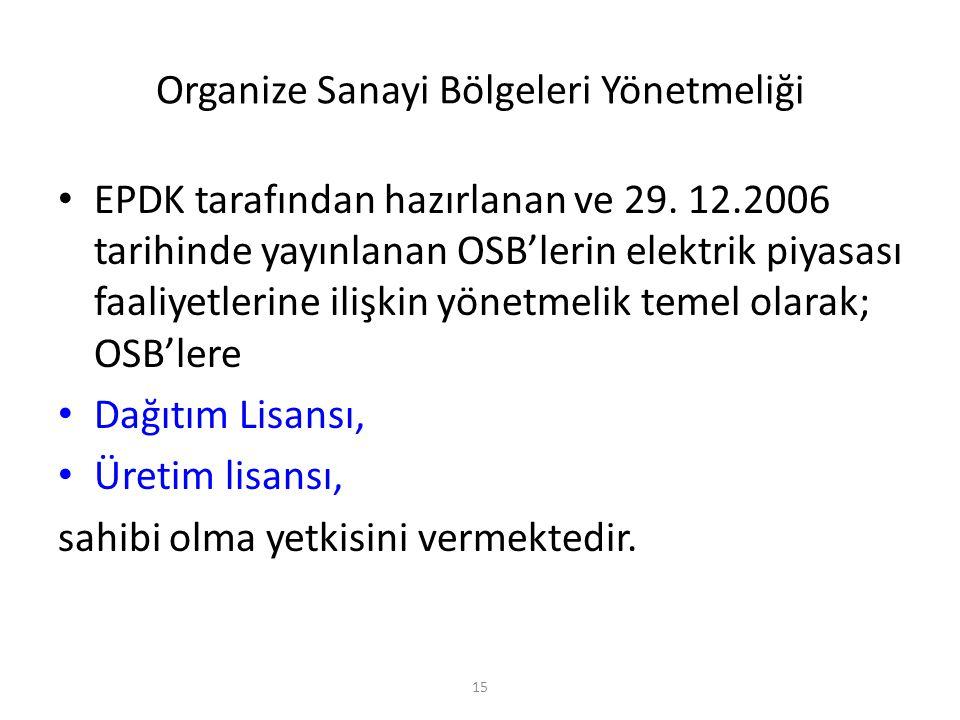 Organize Sanayi Bölgeleri Yönetmeliği EPDK tarafından hazırlanan ve 29. 12.2006 tarihinde yayınlanan OSB'lerin elektrik piyasası faaliyetlerine ilişki