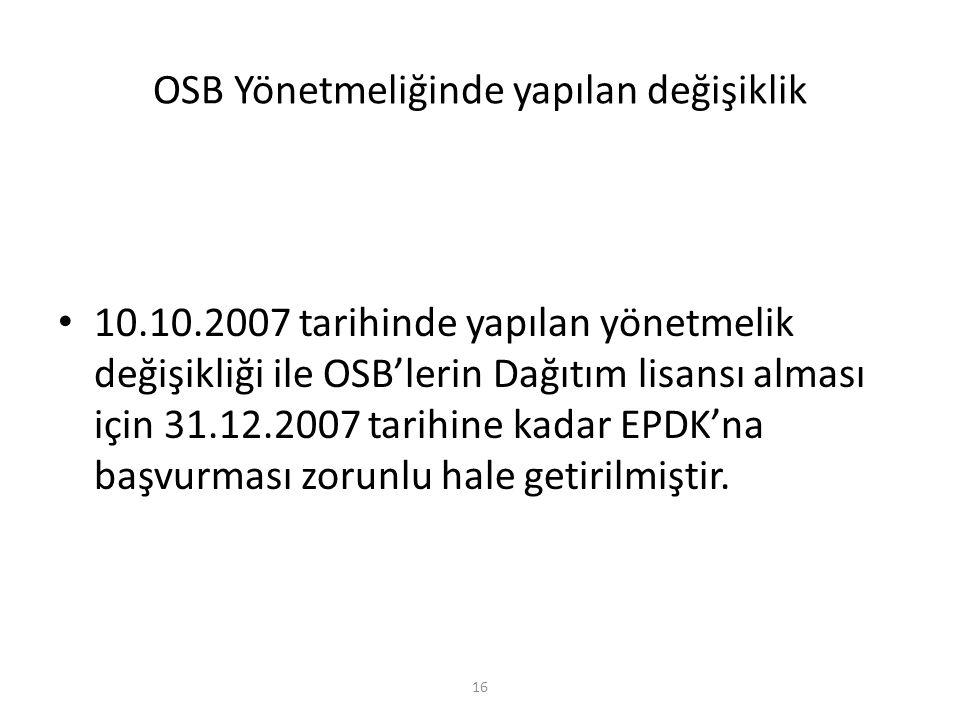 OSB Yönetmeliğinde yapılan değişiklik 10.10.2007 tarihinde yapılan yönetmelik değişikliği ile OSB'lerin Dağıtım lisansı alması için 31.12.2007 tarihin