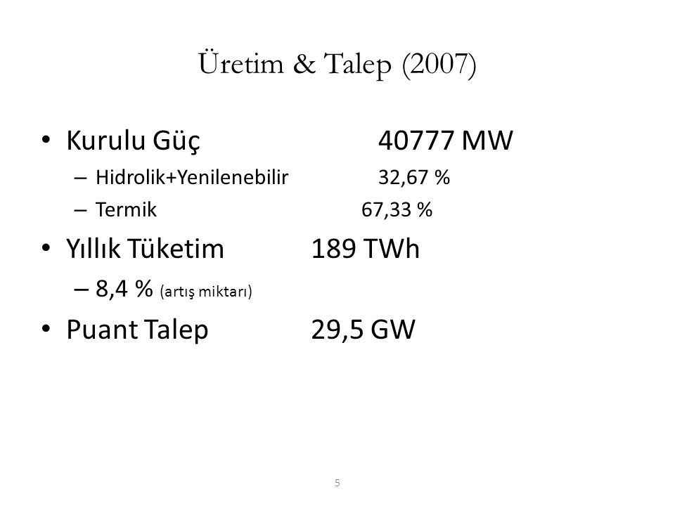 5 Üretim & Talep (2007) Kurulu Güç 40777 MW – Hidrolik+Yenilenebilir32,67 % – Termik 67,33 % Yıllık Tüketim 189 TWh – 8,4 % (artış miktarı) Puant Tale