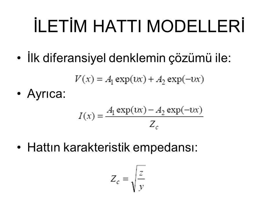 İLETİM HATTI MODELLERİ İlk diferansiyel denklemin çözümü ile: Ayrıca: Hattın karakteristik empedansı: