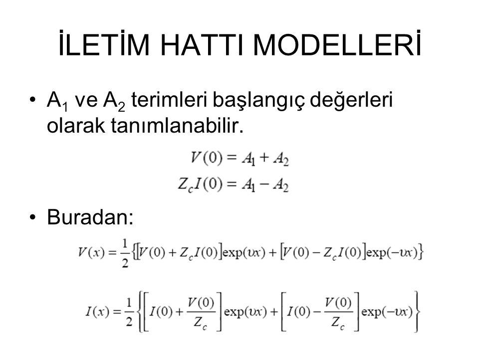 İLETİM HATTI MODELLERİ A 1 ve A 2 terimleri başlangıç değerleri olarak tanımlanabilir. Buradan:
