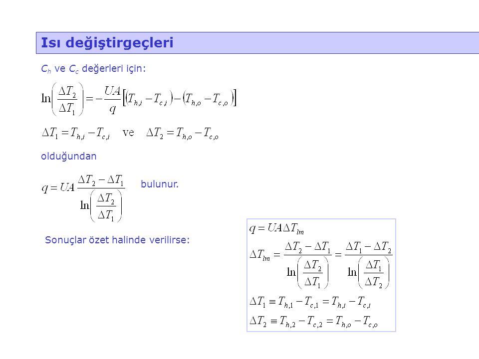 Isı değiştirgeçleri C h ve C c değerleri için: olduğundan bulunur. Sonuçlar özet halinde verilirse:
