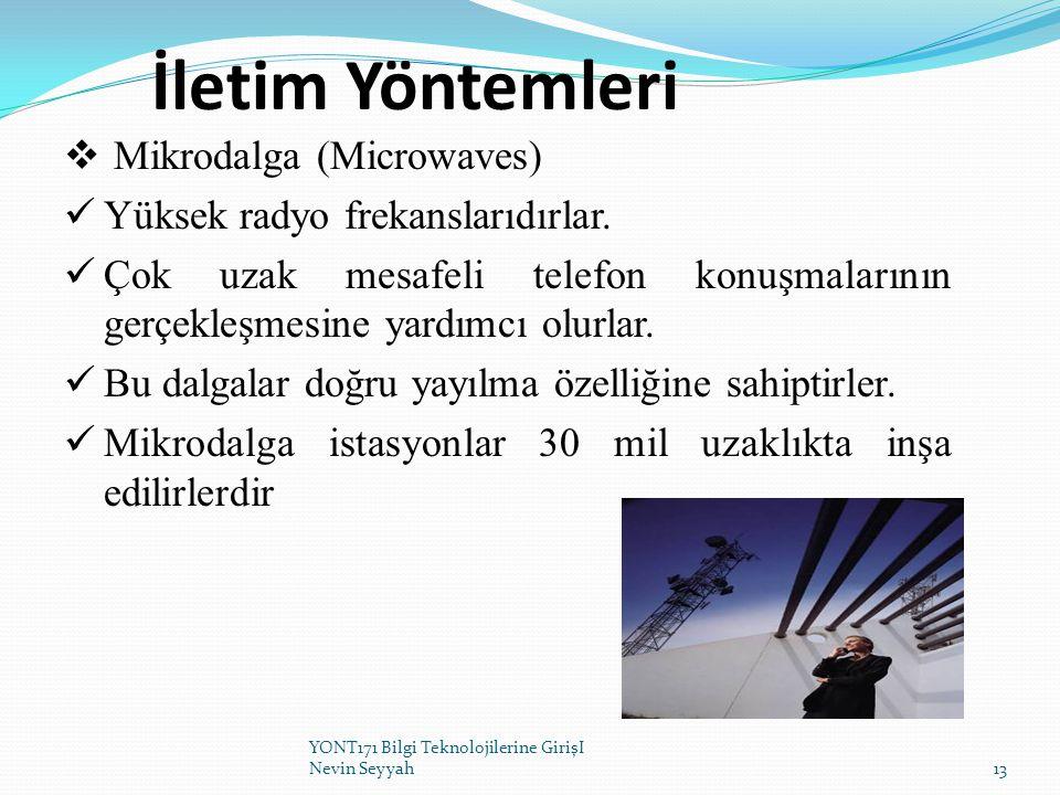 İletim Yöntemleri  Mikrodalga (Microwaves) Yüksek radyo frekanslarıdırlar. Çok uzak mesafeli telefon konuşmalarının gerçekleşmesine yardımcı olurlar.