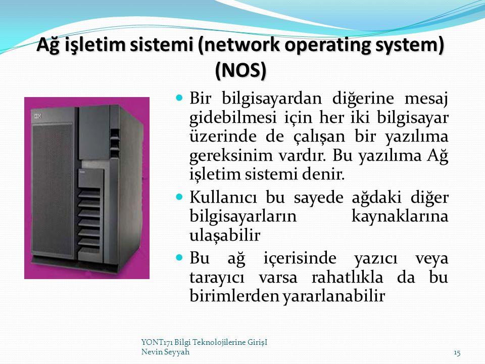 Ağ işletim sistemi (network operating system) (NOS) Bir bilgisayardan diğerine mesaj gidebilmesi için her iki bilgisayar üzerinde de çalışan bir yazıl
