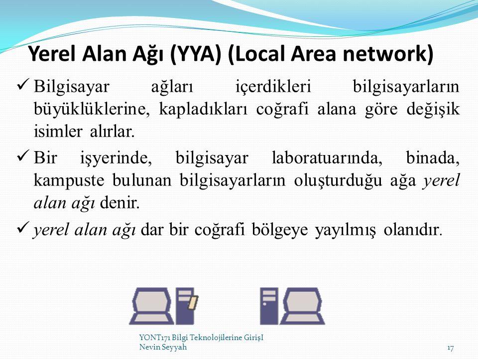 Yerel Alan Ağı (YYA) (Local Area network) Bilgisayar ağları içerdikleri bilgisayarların büyüklüklerine, kapladıkları coğrafi alana göre değişik isimle