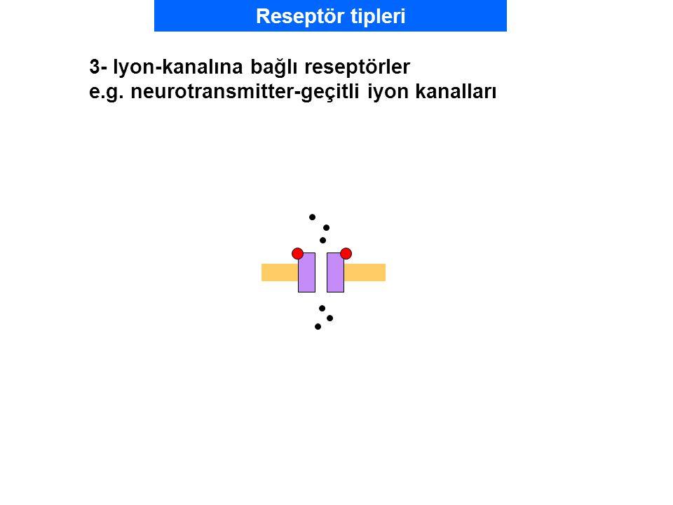 3- Iyon-kanalına bağlı reseptörler e.g. neurotransmitter-geçitli iyon kanalları Reseptör tipleri