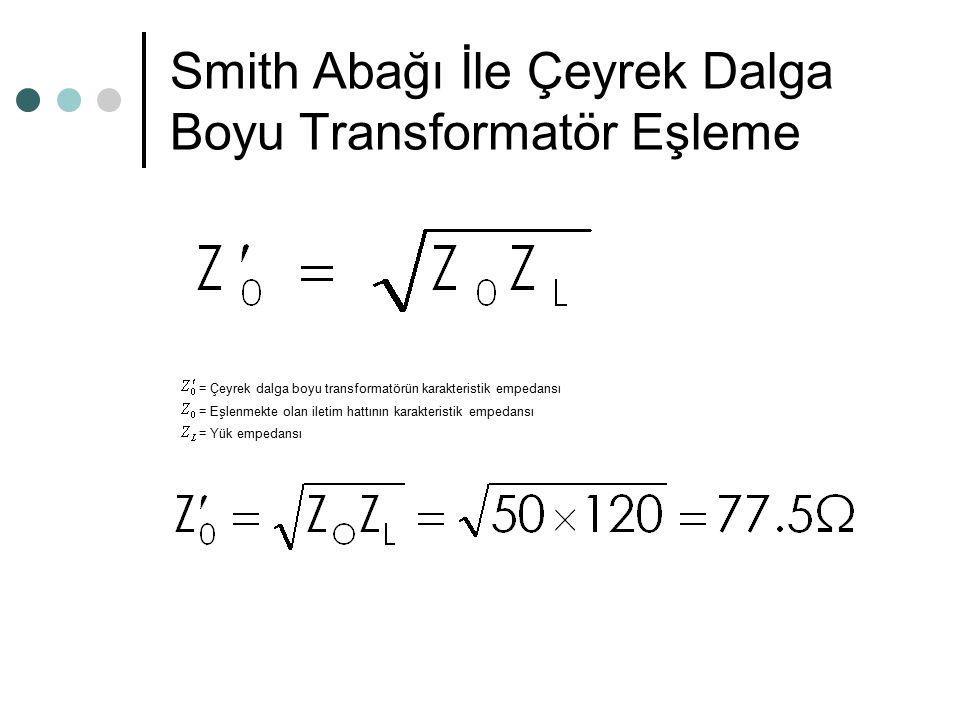 Smith Abağı İle Çeyrek Dalga Boyu Transformatör Eşleme C noktası 0.250 - B noktası - 0.192 uzaklık 0.058 zi = 2.4 (E noktası) Zi = 50 (2.4) = 120 