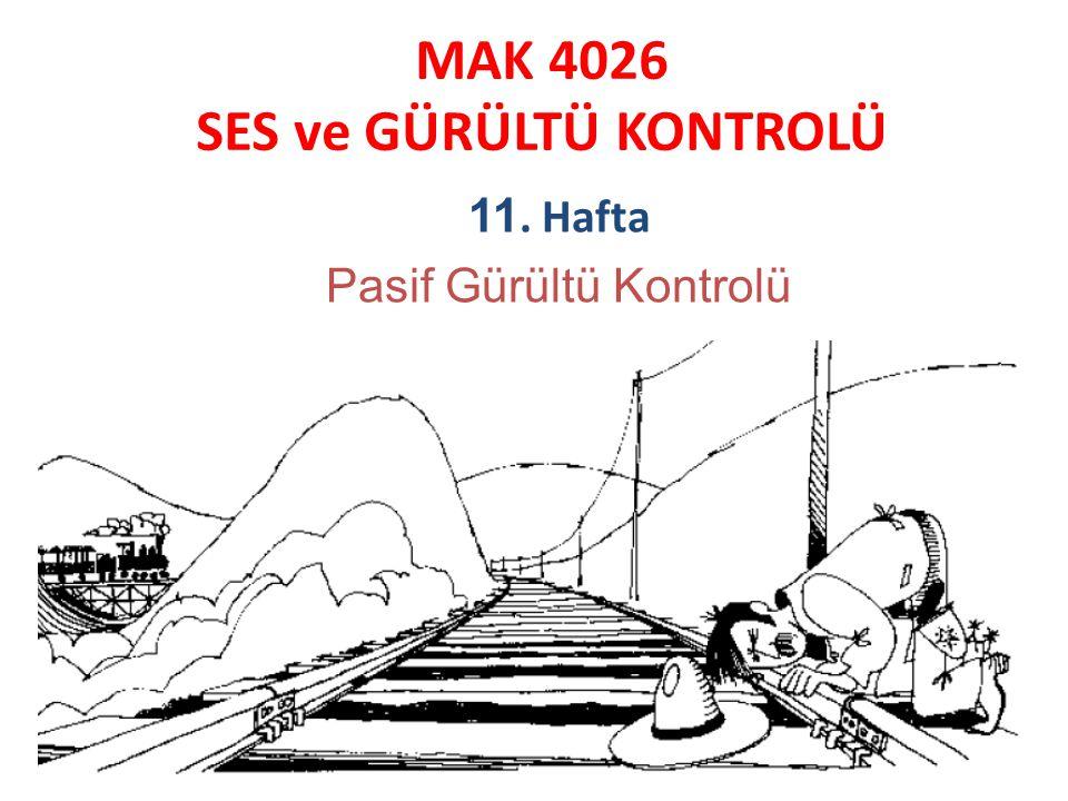 MAK 4026 SES ve GÜRÜLTÜ KONTROLÜ 11. Hafta Pasif Gürültü Kontrolü