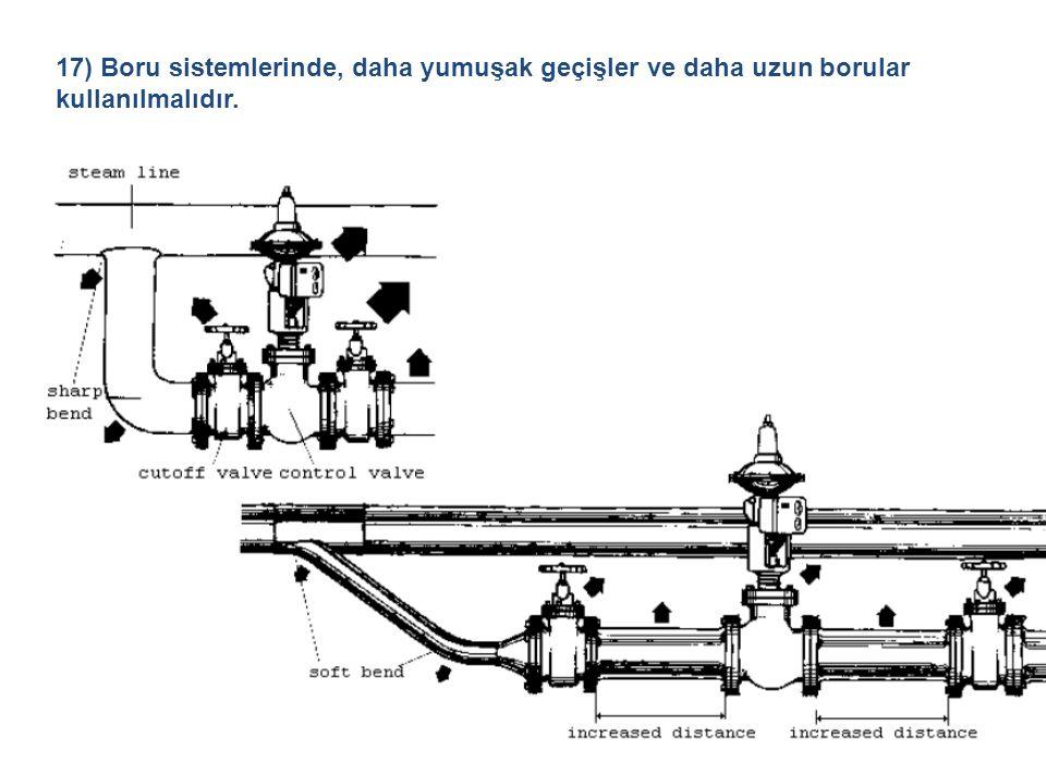 17) Boru sistemlerinde, daha yumuşak geçişler ve daha uzun borular kullanılmalıdır.