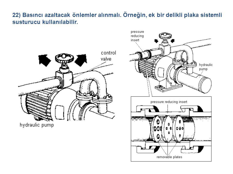 22) Basıncı azaltacak önlemler alınmalı. Örneğin, ek bir delikli plaka sistemli susturucu kullanılabilir.