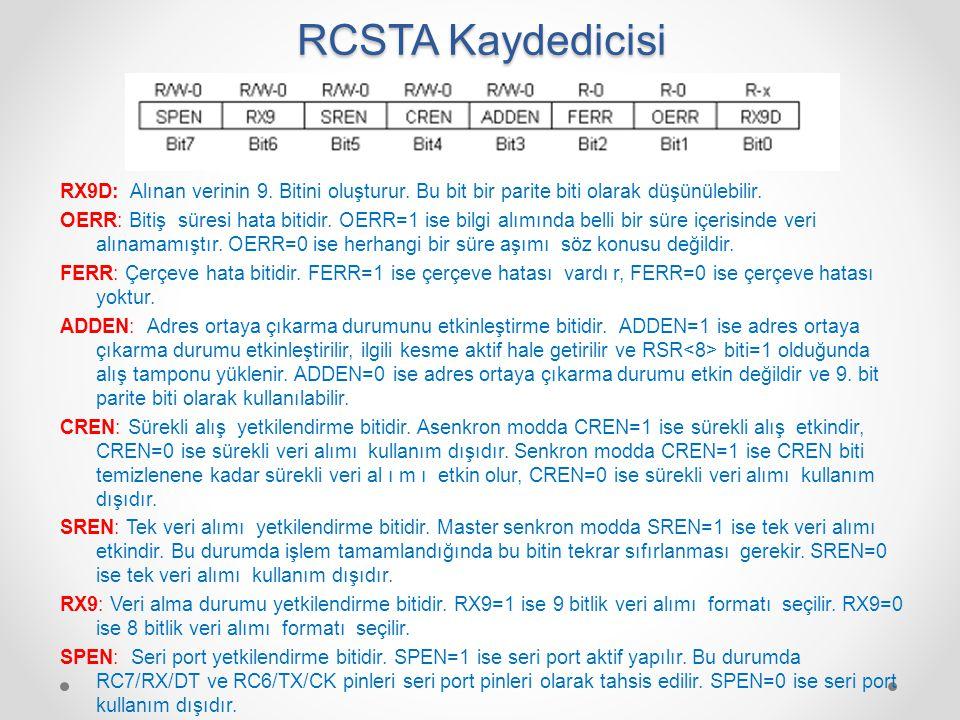 RCSTA Kaydedicisi RX9D: Alınan verinin 9. Bitini oluşturur. Bu bit bir parite biti olarak düşünülebilir. OERR: Bitiş süresi hata bitidir. OERR=1 ise b