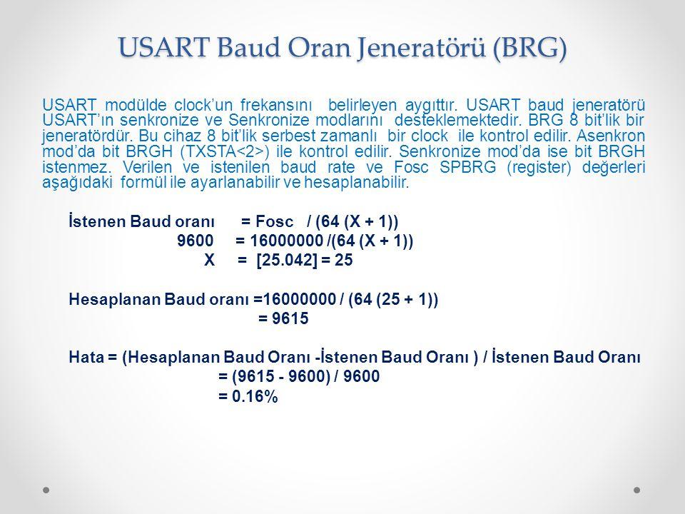USART Baud Oran Jeneratörü (BRG) USART modülde clock'un frekansını belirleyen aygıttır. USART baud jeneratörü USART'ın senkronize ve Senkronize modlar