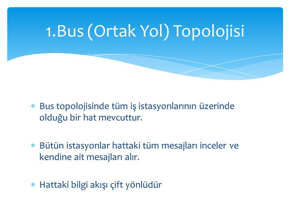  Bus topolojisinde tüm iş istasyonlarının üzerinde olduğu bir hat mevcuttur.  Bütün istasyonlar hattaki tüm mesajları inceler ve kendine ait mesajla